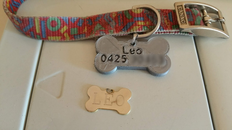Dog tag front view