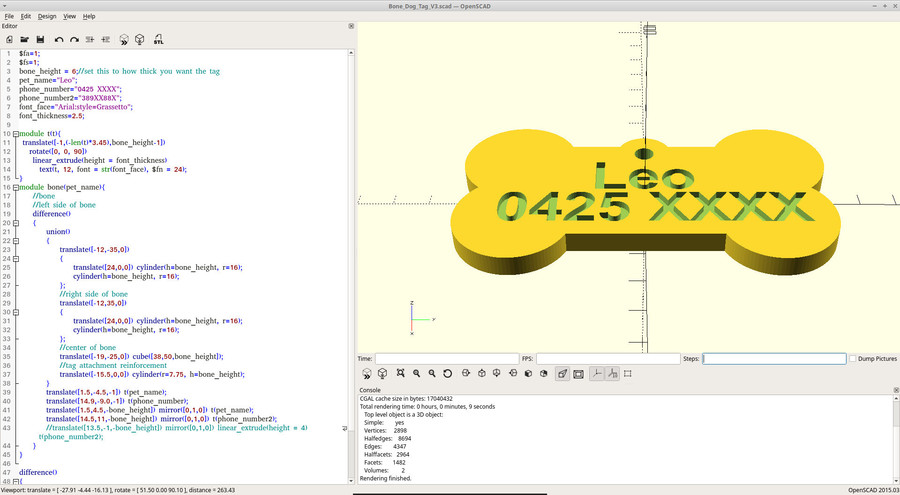 Dog tag in OpenSCAD