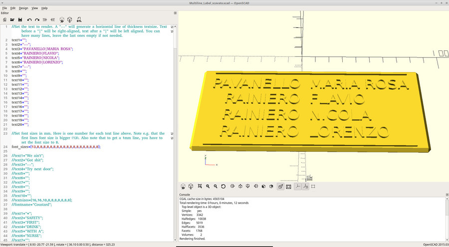 Label for mailbox in OpenSCAD