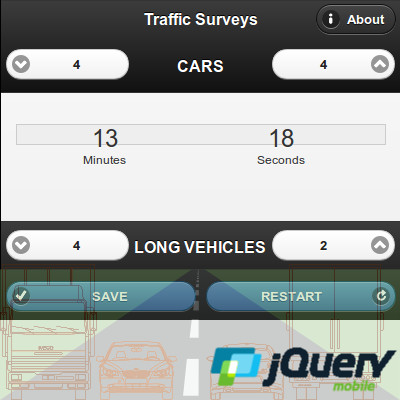 A traffic surveys app in jQuery Mobile, available for most browsers, useful to count vehicles in a fixed interval of time