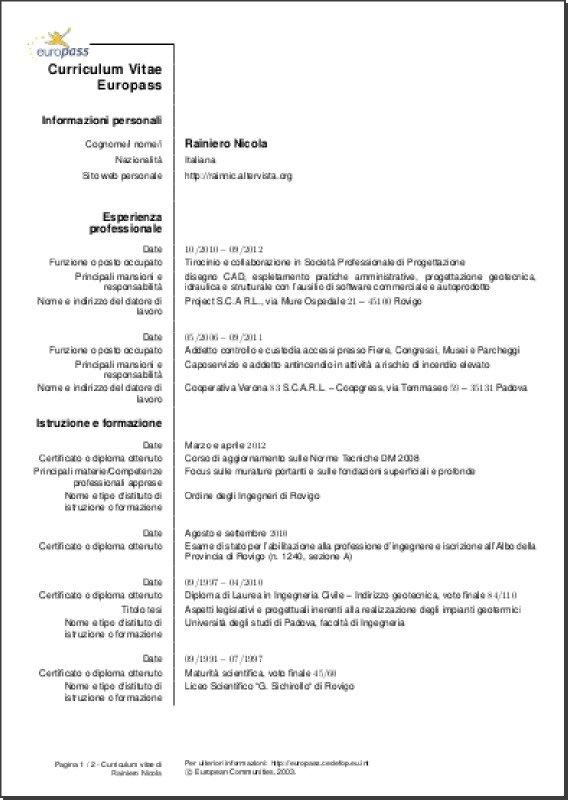 Perfect My Europass CV (Italian Version) Page 1 Of 2 ...