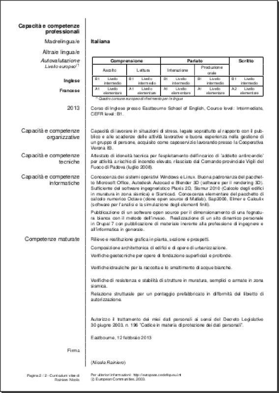 Beautiful ... My Europass CV (Italian Version) Page 2 Of 2