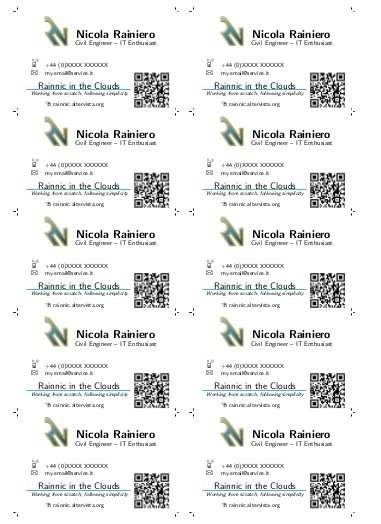 Template for a business card using LaTeX   Rainnic in the Clouds