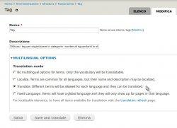 Impostazioni per avere la tassonomia muli-lingua
