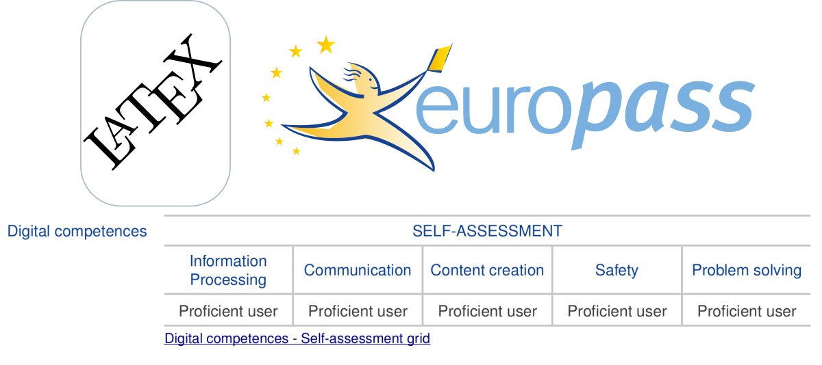 added the digital competence subsection to my latex europass cv template