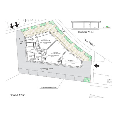 Layout and section for a parcel constituted by 4 commercial/directional areas