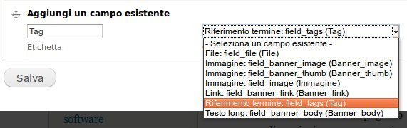 How to add the tags field in a selected content