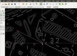 Caricamento in un programma CAD e disegno di una linea con snap attivato