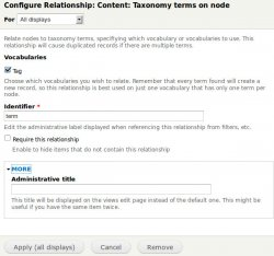 Add in Relationship the Content: Taxonomy terms on node item