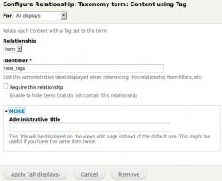 Add in Relationship the Taxonomy term: Content using the proper vocabulary