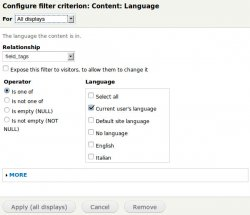Add in Filter Criteria the Content: Language item